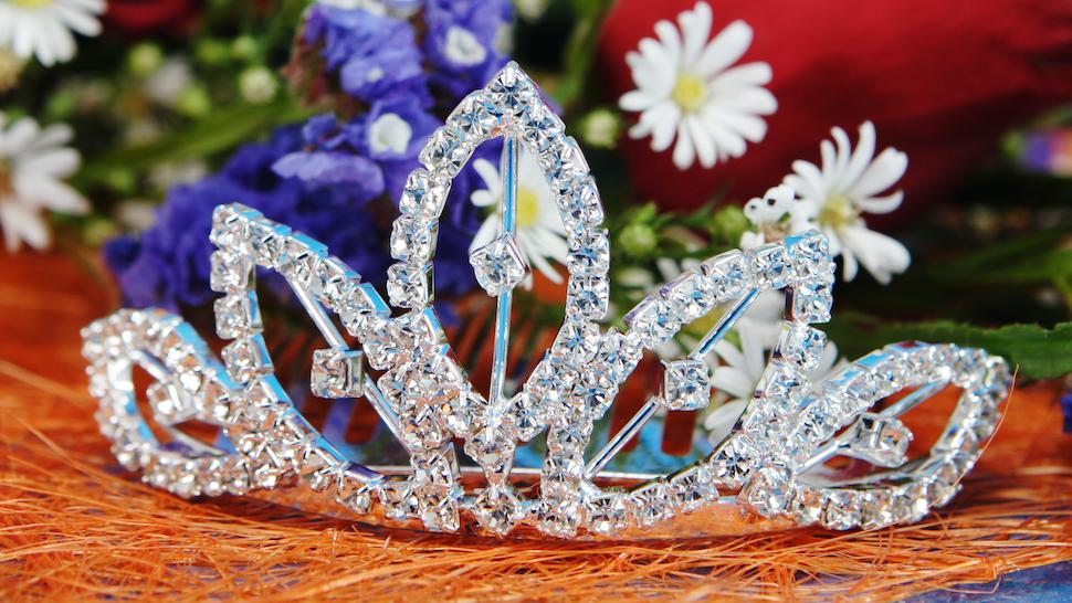 tiara and flowers - stock photo