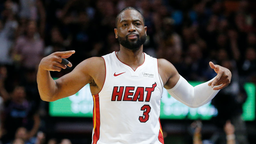 Dwyane Wade #3 of the Miami Heat reacts after hitting a three pointer against the Philadelphia 76ers during the second half at American Airlines Arena on April 09, 2019 in Miami, Florida.