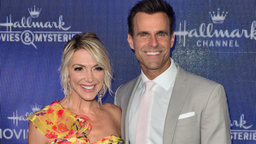 Debbie Matenopolous and Cameron Mathison arrive at Hallmark Channel And Hallmark Movies & Mysteries Summer 2019 TCA Press Tour Event at Private Residence on July 26, 2019 in Beverly Hills, California.