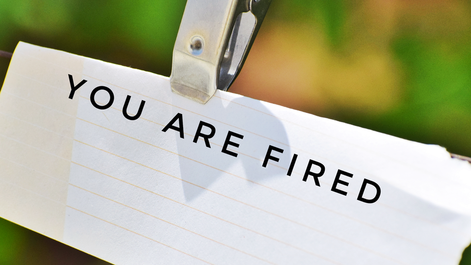 """""""You are fired"""" on paper - stock photo"""