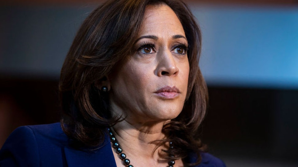 WASHINGTON, DC - JANUARY 21: U.S. Sen. Kamala Harris (D-CA) speaks to reporters after announcing her candidacy for President of the United States, at Howard University, her alma mater, on January 21, 2019 in Washington, DC. Harris is the first African-American woman to announce a run for the White House in 2020.