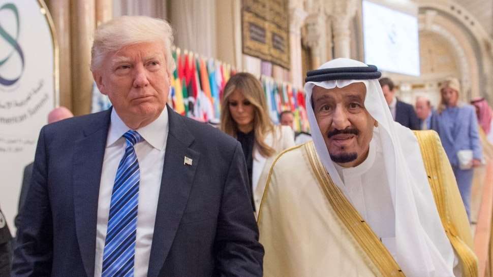 U.S. President Donald Trump (L) and Saudi Arabia's King Salman bin Abdulaziz Al Saud (R) attend the Arabic Islamic American Summit at King Abdul Aziz International Conference Center in Riyadh, Saudi Arabia on May 21, 2017. (Photo by Bandar Algaloud / Saudi Kingdom Council / Handout/Anadolu Agency/Getty Images)