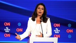 WESTERVILLE, OHIO - OCTOBER 15: Rep. Tulsi Gabbard (D-HI) speaks during the Democratic Presidential Debate at Otterbein University on October 15, 2019 in Westerville, Ohio. A record 12 presidential hopefuls are participating in the debate hosted by CNN and The New York Times.