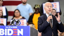Democratic presidential candidate, former vice President Joe Biden speaks to the audience during a town hall on November 21, 2019 in Greenwood, South Carolina. Polls show Biden with a commanding lead in the early primary state.