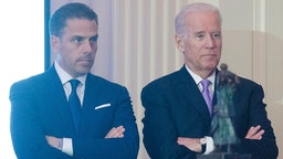 WASHINGTON, DC - APRIL 12: WFP USA Board Chair Hunter Biden introduces his father Vice President Joe Biden during the World Food Program USA's 2016 McGovern-Dole Leadership Award Ceremony at the Organization of American States on April 12, 2016 in Washington, DC.