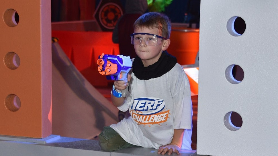 LOS ANGELES, CALIFORNIA - DECEMBER 5: A young guest attends the NERF Challenge World Premiere at L.A. Live Event Deck on December 5, 2019 in Los Angeles, California. NERF Challenge is a touring live stage and fan experience that brings the action and competitive fun of the NERF brand to life, and will travel across select US and Canada markets in 2020 following its Los Angeles run.