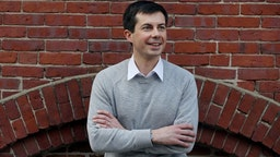 Pete Buttigieg, mayor of South Bend, IN, stands for a portrait after speaking at Gibson's Bookstore in Concord, NH on April 6, 2019. Buttigieg recently launched a presidential exploratory committee.