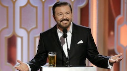 In this handout photo provided by NBCUniversal, Host Ricky Gervais speaks onstage during the 73rd Annual Golden Globe Awards at The Beverly Hilton Hotel on January 10, 2016 in Beverly Hills, California.