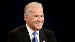 Vice President Joe Biden smiles during the vice presidential debate at Centre College October 11, 2012 in Danville, Kentucky.