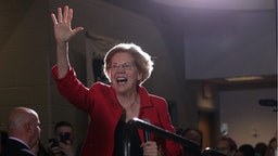 Democratic U.S. presidential candidate Sen. Elizabeth Warren (D-MA) arrives at the Moral Action Congress of the Poor People's Campaign June 17, 2019 at Trinity Washington University in Washington, DC.