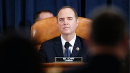 Committee Chairman Rep. Adam Schiff (D-CA) listens at the start of a hearing before the House Intelligence Committee in the Longworth House Office Building on Capitol Hill November 19, 2019 in Washington, DC.