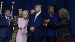 "A group of religious leaders pray for President Donald Trump during an ""Evangelicals for Trump"" campaign rally at El Rey Jesus Evangelical church in Kendall, Fla., on Friday, Jan. 3, 2020."