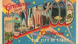 Vintage illustration of Greetings from Hollywood, California large letter vintage postcard, 1930s.