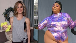 """TV personality/personal trainer Jillian Michaels visits Hallmark's """"Home & Family"""" at Universal Studios Hollywood on January 16, 2018 in Universal City, California/Lizzo performs on the West Holts stage during day four of Glastonbury Festival at Worthy Farm, Pilton on June 29, 2019 in Glastonbury, England."""