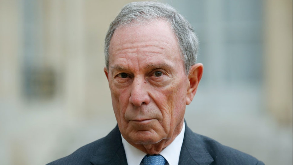 Former Mayor of New York City, Michael Bloomberg makes a statement after his meeting with French President Francois Hollande and Paris City Mayor Anne Hidalgo at the Elysee Presidential Palace on March 09, 2017 in Paris, France.