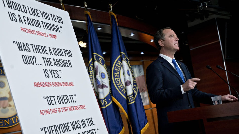 Representative Adam Schiff, a Democrat from California and chairman of the House Intelligence Committee, speaks during a news conference on Capitol Hill in Washington, D.C., U.S., on Tuesday, Dec. 3, 2019. Monday, January 20, 2020, marks the third anniversary of U.S. President Donald Trump's inauguration. Our editors select the best archive images looking back over Trump's term in office. Photographer: Andrew Harrer/Bloomberg