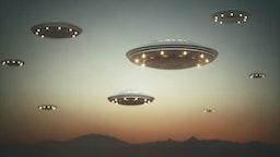Invasion of alien spaceships at sunset, illustration.