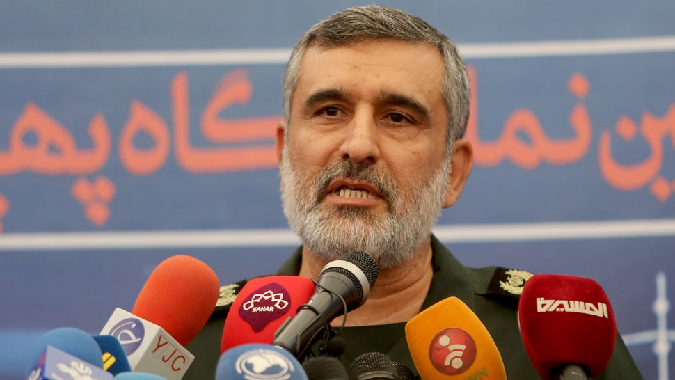 """General Amir Ali Hajizadeh, the head of the Revolutionary Guard's aerospace division, speaks at Tehran's Islamic Revolution and Holy Defence museum, during the unveiling of an exhibition of what Iran says are US and other drones captured in its territory, in the capital Tehran on September 21, 2019. - Iran's Revolutionary Guards commander today warned any country that attacks the Islamic republic will see its territory become the """"main battlefield"""" as he opened an exhibition of captured drones"""