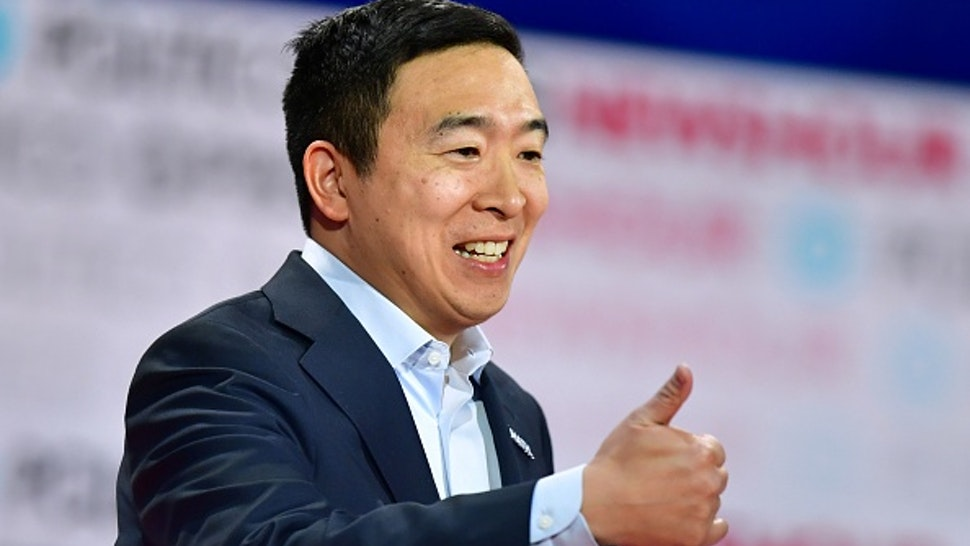 Democratic presidential hopeful entrepreneur Andrew Yang gestures during the sixth Democratic primary debate of the 2020 presidential campaign season co-hosted by PBS NewsHour & Politico at Loyola Marymount University in Los Angeles, California on December 19, 2019.