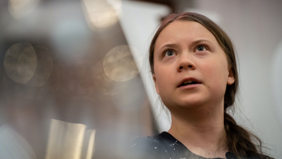 Greta Thunberg speaks at an event with other climate activists on April 22, 2019 in London, England.