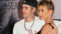 "LOS ANGELES, CALIFORNIA - JANUARY 27: Justin Bieber and Hailey Bieber attend the premiere of YouTube Originals' ""Justin Bieber: Seasons"" at Regency Bruin Theatre on January 27, 2020 in Los Angeles, California."