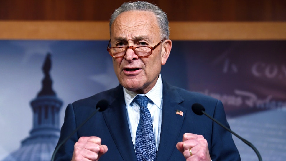 Senate Minority Leader Chuck Schumer (D-NY), speaks about the the Senate Impeachment trial at the Capitol, January 16, 2020, in Washington, DC. - Members of the US Senate were sworn in on January 16 to serve as jurors at the historic impeachment trial of President Donald Trump.