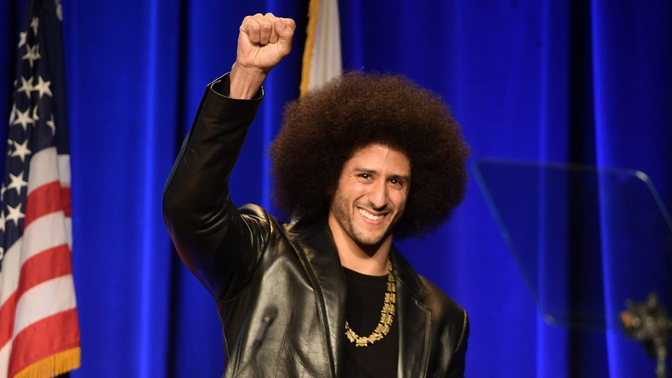 BEVERLY HILLS, CA - DECEMBER 03: Honoree Colin Kaepernick speaks onstage at ACLU SoCal Hosts Annual Bill of Rights Dinner at the Beverly Wilshire Four Seasons Hotel on December 3, 2017 in Beverly Hills, California.