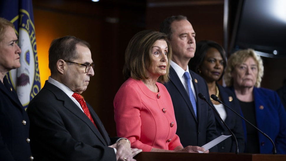 U.S. House Speaker Nancy Pelosi, a Democrat from California, center, speaks as Representative Jerry Nadler, a Democrat from New York and chairman of the House Judiciary Committee, left, and Representative Adam Schiff, a Democrat from California and chairman of the House Intelligence Committee, right, listen during a news conference on Capitol Hill in Washington, D.C., U.S., on Wednesday, Jan. 15, 2020. Schiff will lead a team of seven managers who will present the impeachment case against President Donald Trump in the Senate, Pelosi said. Photographer: Al Drago/Bloomberg