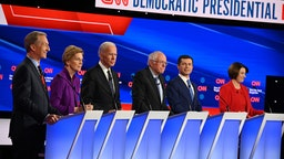 (L-R) Democratic presidential hopefuls billionaire-philanthropist Tom Steyer, Massachusetts Senator Elizabeth Warren, Former Vice President Joe Biden, Vermont Senator Bernie Sanders, Mayor of South Bend, Indiana, Pete Buttigieg and Minnesota Senator Amy Klobuchar speak during the seventh Democratic primary debate of the 2020 presidential campaign season co-hosted by CNN and the Des Moines Register at the Drake University campus in Des Moines, Iowa on January 14, 2020.