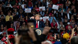 "President Donald Trump speaks at a ""Keep America Great"" campaign rally at the Huntington Center on January 9, 2020 in Toledo, Ohio. President Trump won the swing state of Ohio in 2016 by eight points over his opponent Hillary Clinton. (Photo by Brittany Greeson/Getty Images)"