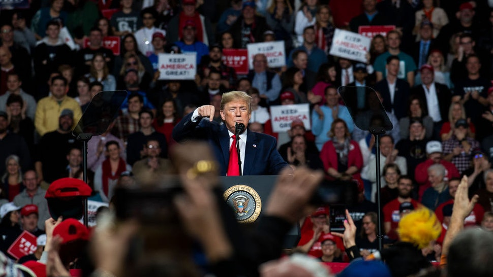 """President Donald Trump speaks at a """"Keep America Great"""" campaign rally at the Huntington Center on January 9, 2020 in Toledo, Ohio. President Trump won the swing state of Ohio in 2016 by eight points over his opponent Hillary Clinton. (Photo by Brittany Greeson/Getty Images)"""
