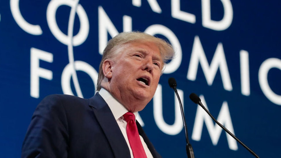 U.S. President Donald Trump delivers a speech during a special address on the opening day of the World Economic Forum (WEF) in Davos, Switzerland, on Tuesday, Jan. 21, 2020. World leaders, influential executives, bankers and policy makers attend the 50th annual meeting of the World Economic Forum in Davos from Jan. 21 - 24. Photographer: Jason Alden/Bloomberg