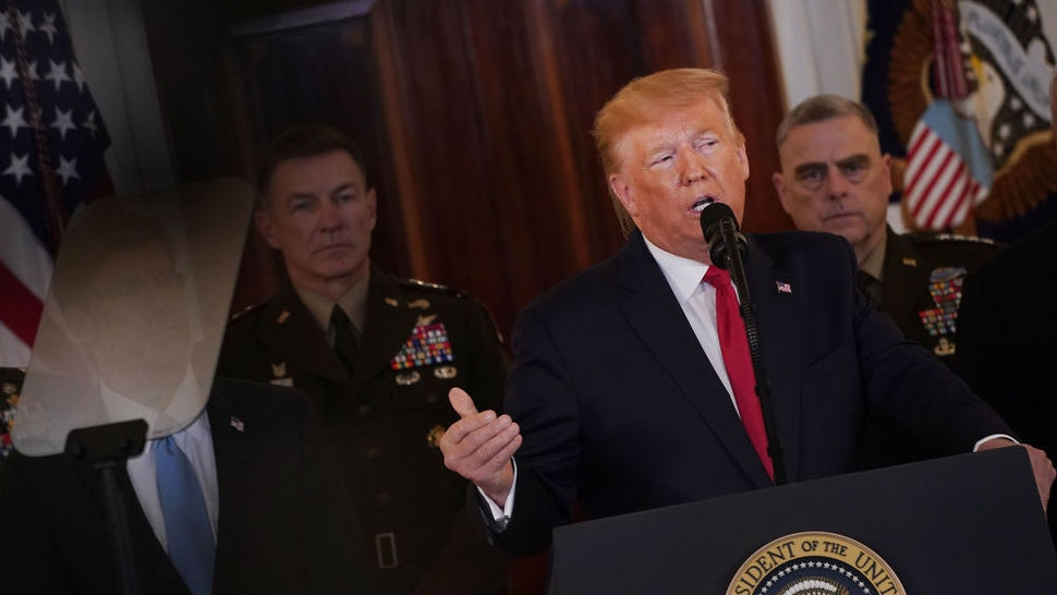 U.S. President Donald Trump speaks in the Grand Foyer of the White House in Washington, D.C., U.S., on Wednesday, Jan. 8, 2020. Iran apparently intended to avoid U.S. casualties when it launched more than a dozen missiles at U.S.-Iraqi airbases in retaliation for an American airstrike that killed a top Iranian general, according to U.S. officials with knowledge of the matter. Photographer: Andrew Harrer/Bloomberg