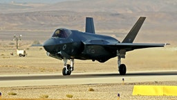 """An Israeli F35 I takes part in the """"Blue Flag"""" multinational air defence exercise at the Ovda air force base, north of the Israeli city of Eilat, on November 11, 2019."""