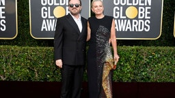 BEVERLY HILLS, CALIFORNIA - JANUARY 05: 77th ANNUAL GOLDEN GLOBE AWARDS -- Pictured: (l-r) Ricky Gervais and Jane Fallon arrive to the 77th Annual Golden Globe Awards held at the Beverly Hilton Hotel on January 5, 2020. --