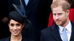 Meghan, Duchess of Sussex and Prince Harry, Duke of Sussex attend Christmas Day Church service at Church of St Mary Magdalene on the Sandringham estate on December 25, 2018 in King's Lynn, England.