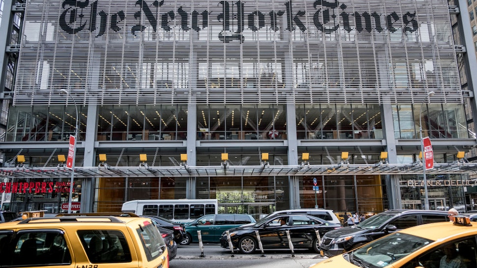 he New York Times building in the west side of Midtown Manhattan.