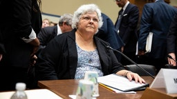 Susan Bro, mother of Heather Heyer arrives to a House Civil Rights and Civil Liberties Subcommittee hearing on confronting white supremacy at the U.S. Capitol on May 15, 2019 in Washington, DC.