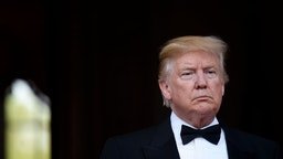US President Donald Trump poses ahead of a dinner at Winfield House for Prince Charles, Prince of Wales and Camilla, Duchess of Cornwall, during their state visit on June 04, 2019 in London, England.