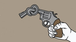 Man holding knotted gun - stock illustration