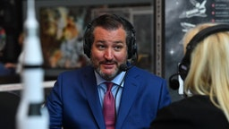 US Senator Ted Cruz (R-TX) talks with SiriusXM host Julie Mason at The National Air and Space Museum on July 17, 2019 in Washington, DC.