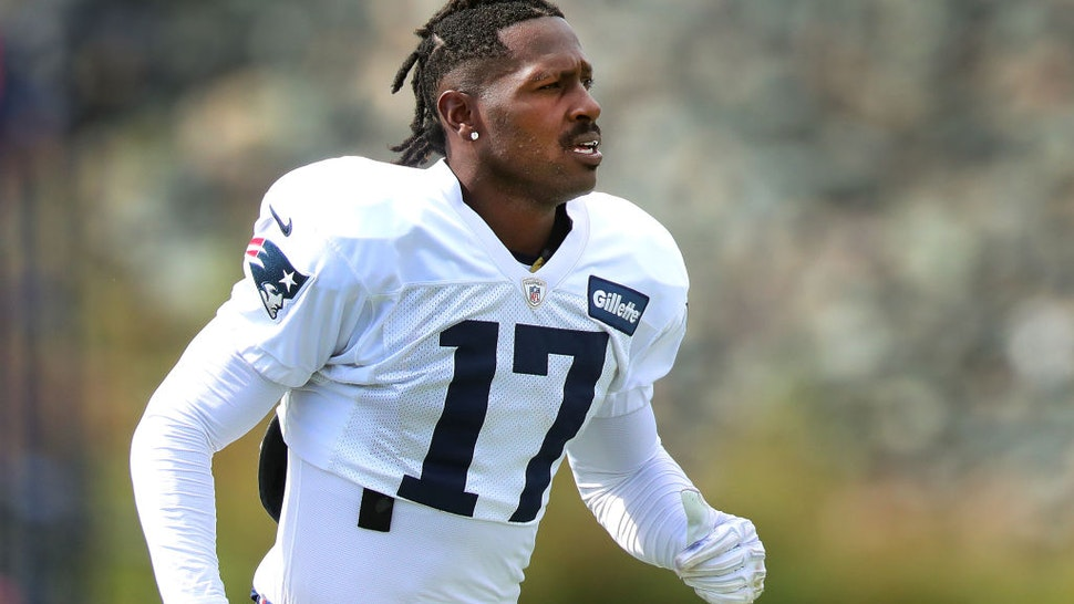 New England Patriots wide receiver Antonio Brown runs onto the practice field during New England Patriots practice at Gillette Stadium in Foxborough, MA on Sep. 18, 2019.