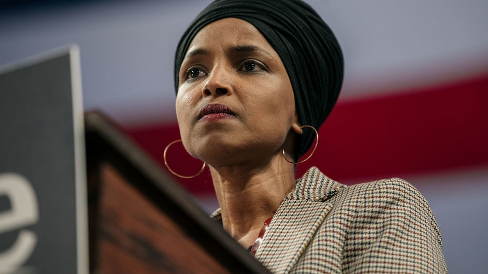 Representative Ilhan Omar (D-MN) speaks at a campaign rally for Senator (I-VT) and presidential candidate Bernie Sanders at the University of Minnesotas Williams Arena on November, 3, 2019 in Minneapolis, Minnesota.
