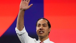 Democratic presidential hopeful, former Secretary of Housing and Urban Development, Julian Castro arrives to speak at the California Democratic Party 2019 Fall Endorsing Convention in Long Beach, California on November 16, 2019. (Photo by CHRIS CARLSON / POOL / AFP) (Photo by CHRIS CARLSON/POOL/AFP via Getty Images)