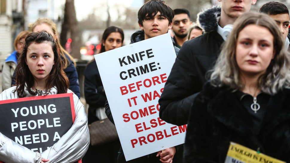 Protestors participate in A March To Stop Knife Crime by The Tashan Daniel Campaign on December 7, 2019 in London, England.