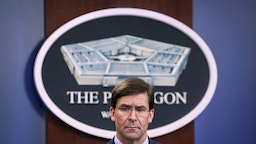 "ARLINGTON, VA DECEMBER 20: Secretary of Defense Mark Esper holds an end of year press conference at the Pentagon on December 20, 2019 in Arlington, Virginia. Esper and Milley fielded questions on a wide range of topics, including the situation in North Korea and a recent Washington Post referred to as the ""Afghanistan Papers."""