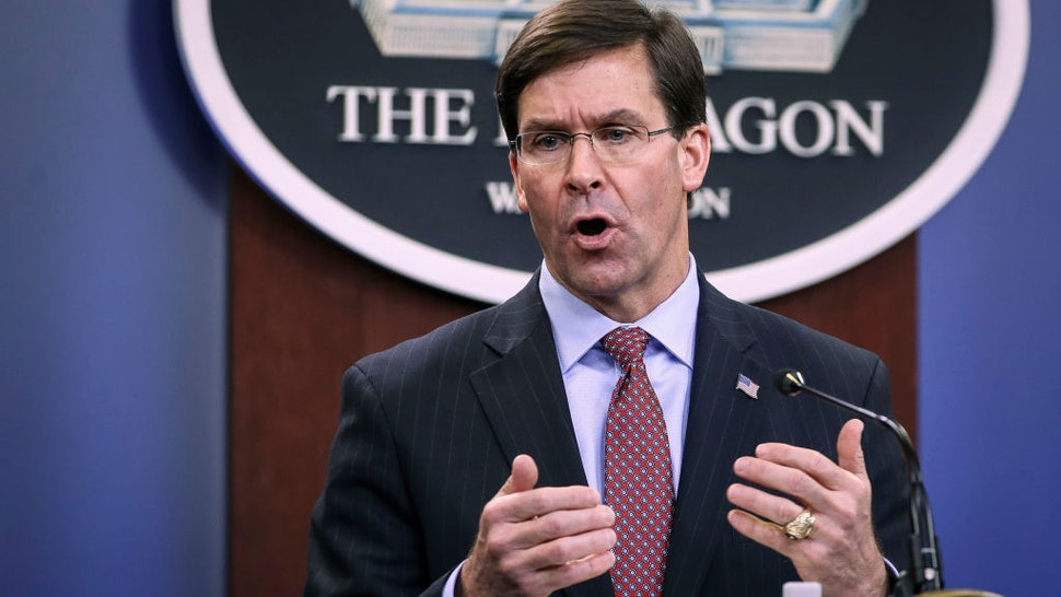 Secretary of Defense Mark Esper holds an end of year press conference at the Pentagon on December 20, 2019 in Arlington, Virginia.