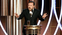 BEVERLY HILLS, CALIFORNIA - JANUARY 05: In this handout photo provided by NBCUniversal Media, LLC, host Ricky Gervais speaks onstage during the 77th Annual Golden Globe Awards at The Beverly Hilton Hotel on January 5, 2020 in Beverly Hills, California.