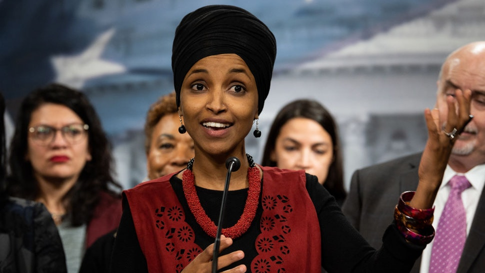 U.S. Representative Ilhan Omar (D-MN) speaking about the situation in Iran and Iraq at a press conference organized by the Congressional Progressive Caucus (CPC)