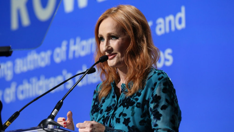 NEW YORK, NEW YORK - DECEMBER 12: J.K. Rowling accepts an award onstage during the Robert F. Kennedy Human Rights Hosts 2019 Ripple Of Hope Gala & Auction In NYC on December 12, 2019 in New York City.